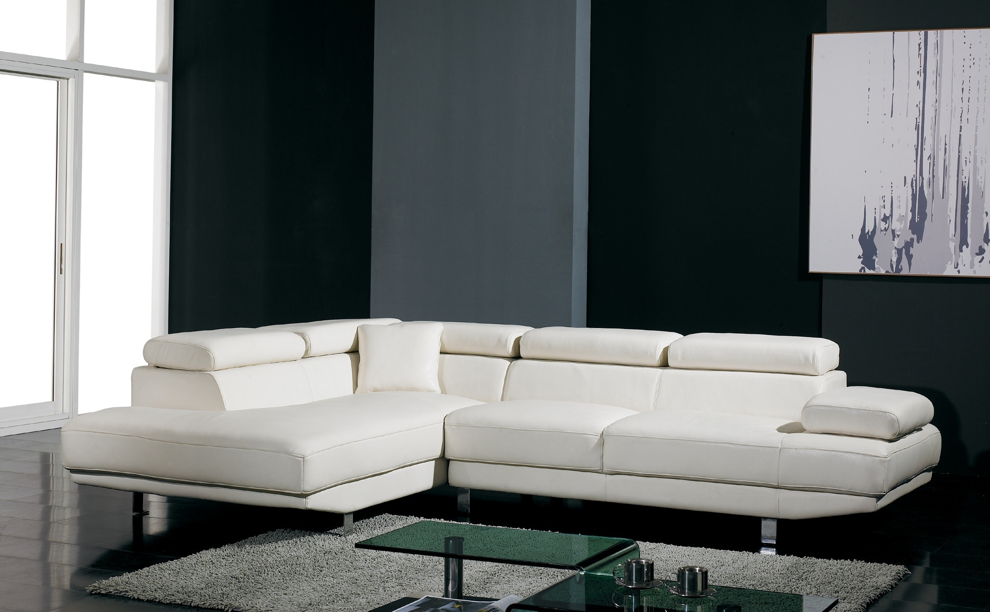 Newest White Leather Sectionals With Chaise Intended For T60 Ultra Modern White Leather Sectional Sofa (View 8 of 15)