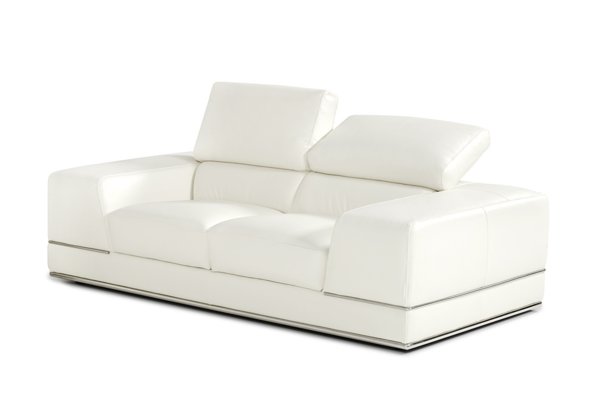 Newest White Leather Sofas Intended For Divani Casa Chrysanthemum Modern White Leather Sofa Set (View 5 of 15)