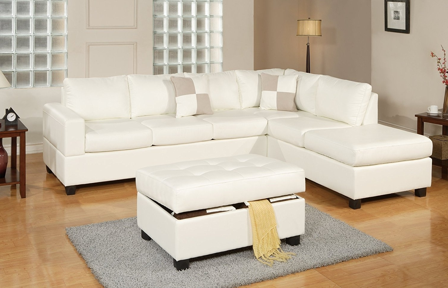 Newest White Sectional Sofas With Amazon: Bobkona Soft Touch Reversible Bonded Leather Match  (View 8 of 15)