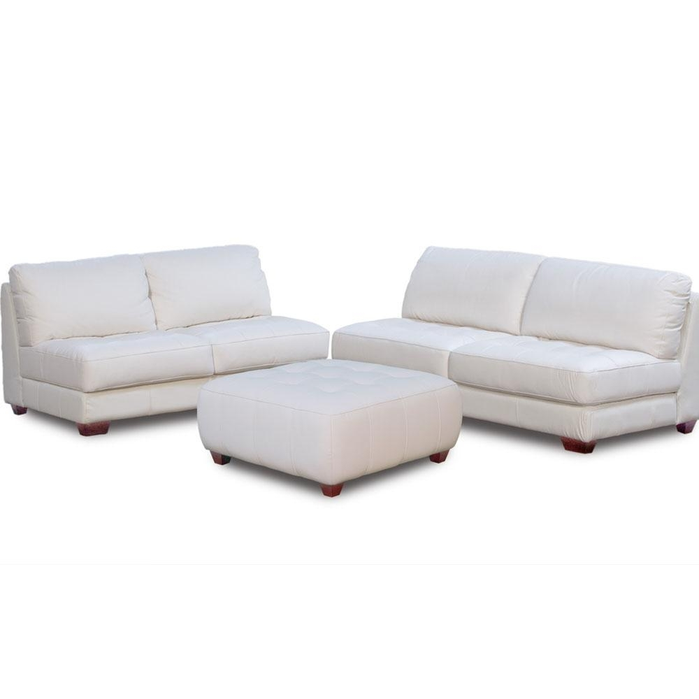 Newest Zen Collection Armless All Leather Tufted Seat Sofa Loveseat And Throughout Loveseats With Ottoman (View 11 of 15)