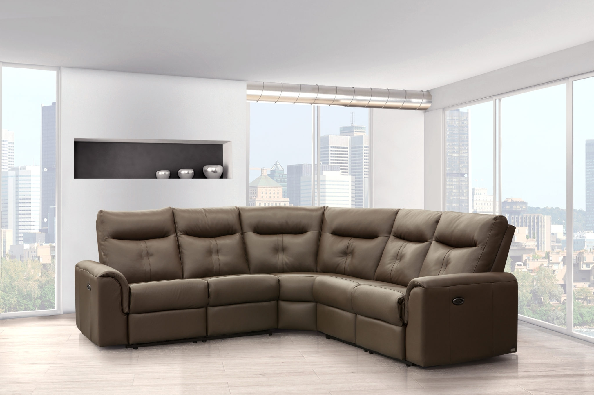 Newfoundland Sectional Sofas Intended For Preferred Elran 4016 Electric Reclining Leather Sectional (View 15 of 15)
