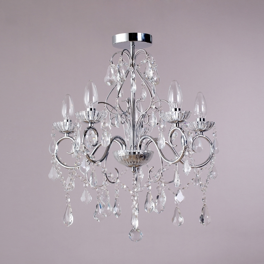 Nice Bathroom Chandeliers Crystal Vara 5 Light Bathroom Chandelier For Most Up To Date Crystal Chrome Chandelier (View 12 of 15)
