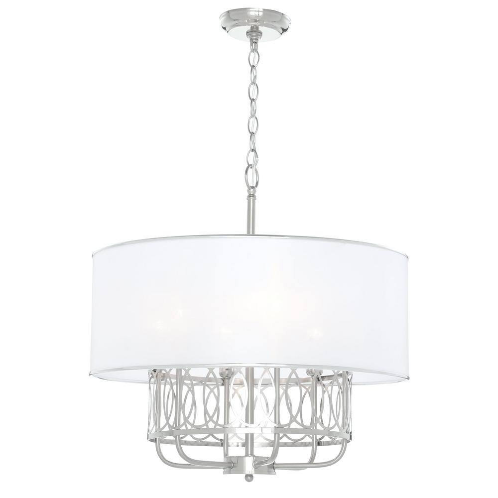 Nickel – Candle Style – Chandeliers – Lighting – The Home Depot For Popular Candle Look Chandeliers (View 6 of 15)