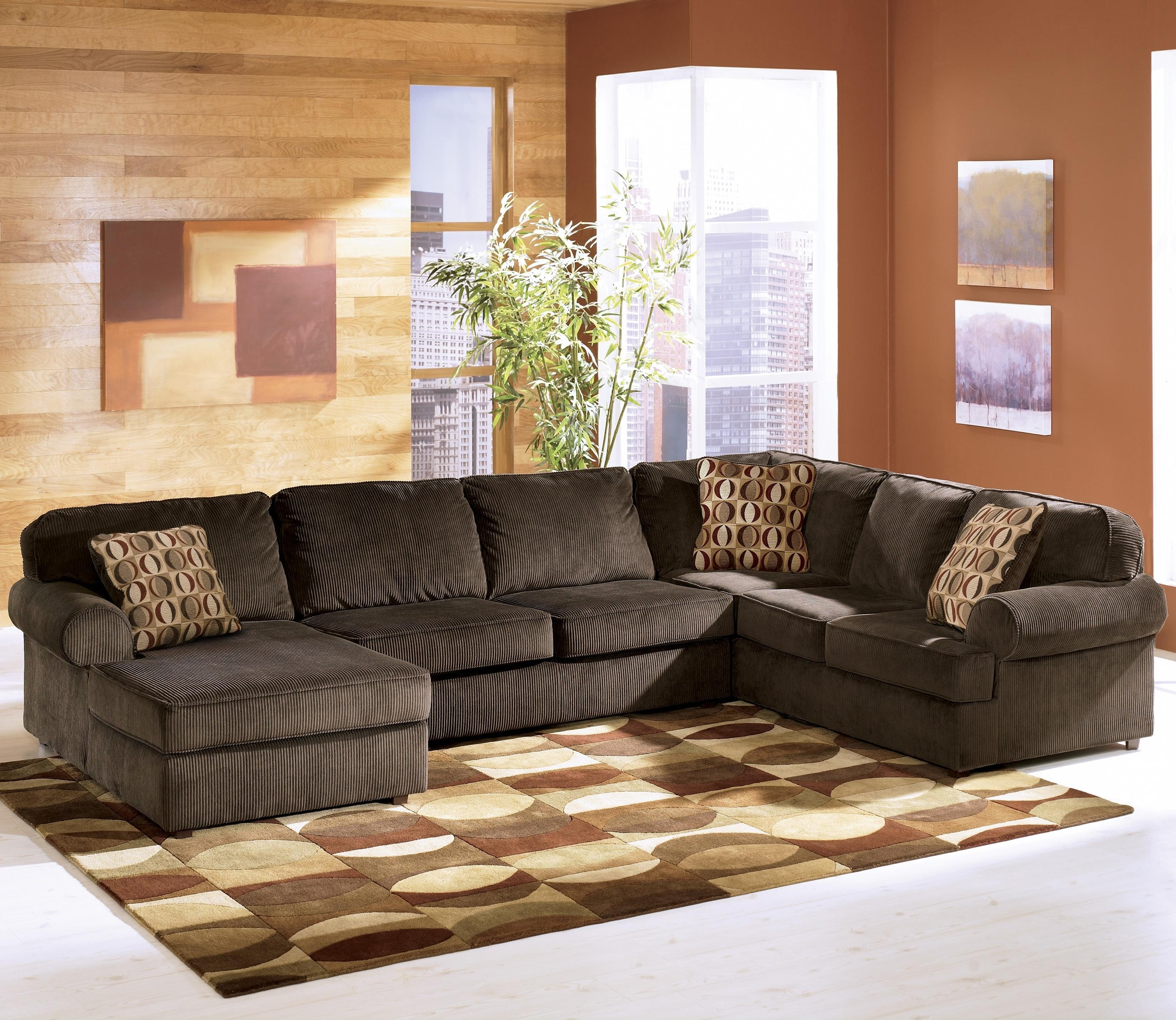 Nj Sectional Sofas With Most Popular Ashley Furniture Vista – Chocolate Casual 3 Piece Sectional With (View 11 of 15)