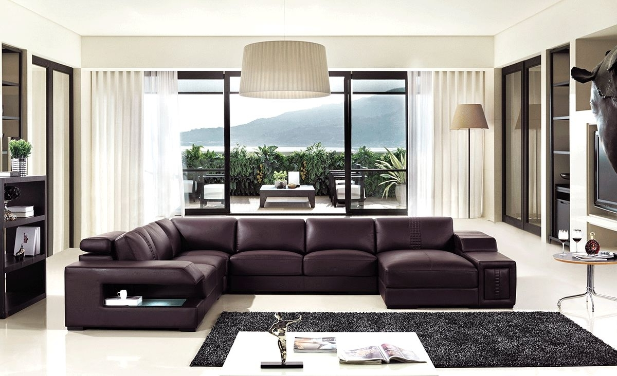 North Carolina Sectional Sofas Throughout Best And Newest Brown Leather Sectional Sofa With Built In Coffee Table And Lights (View 12 of 15)