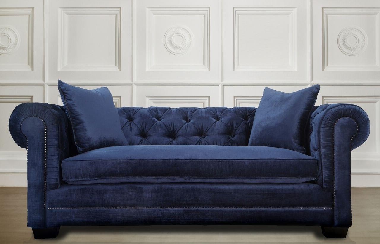 Norwalk Sofas Intended For Famous Amazon: Tov Furniture Norwalk Velvet Sofa, Navy: Kitchen & Dining (View 13 of 15)