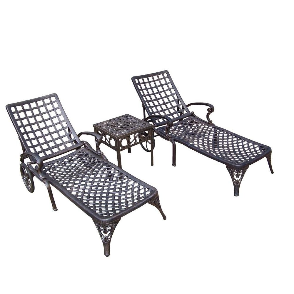 Oakland Living Elite Cast Aluminum 3 Piece Patio Chaise Lounge Set In Well Known Black Outdoor Chaise Lounge Chairs (View 11 of 15)