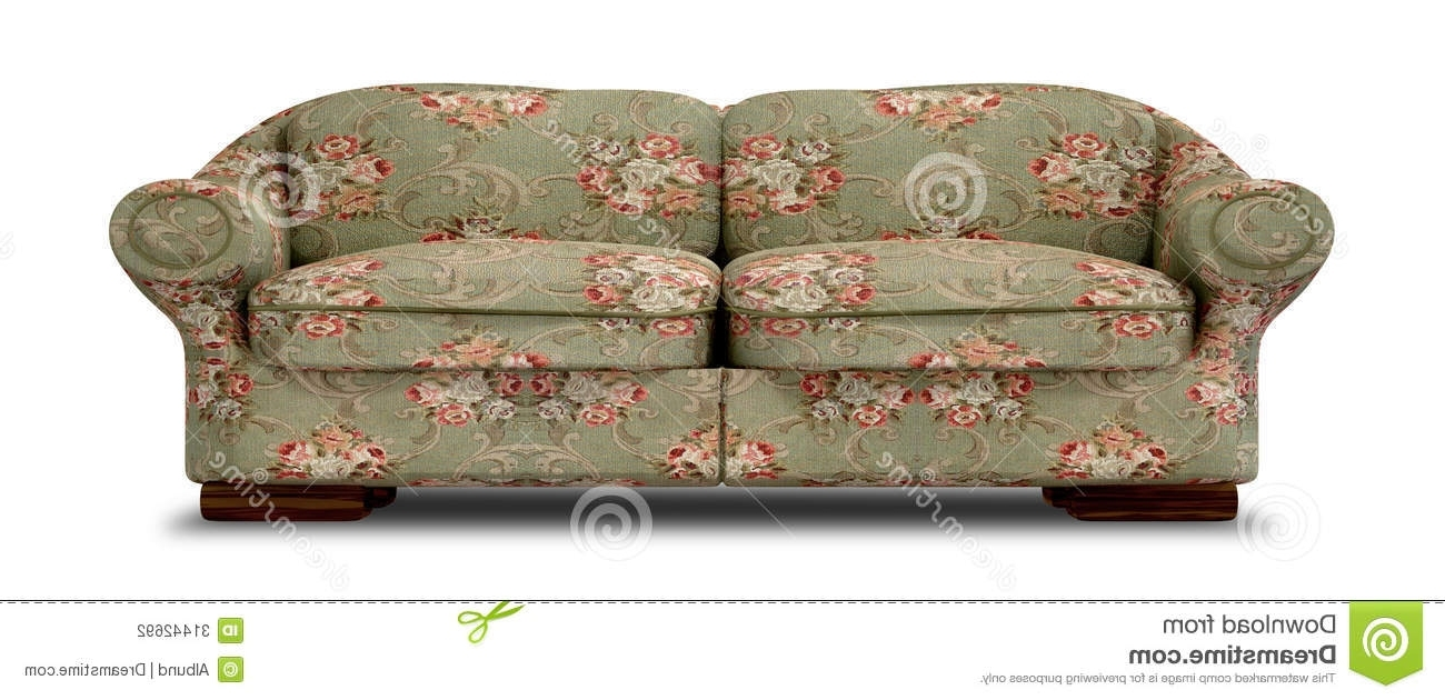 Old Fashioned Sofas With Trendy Old Floral Sofa Front Stock Illustration (View 7 of 15)