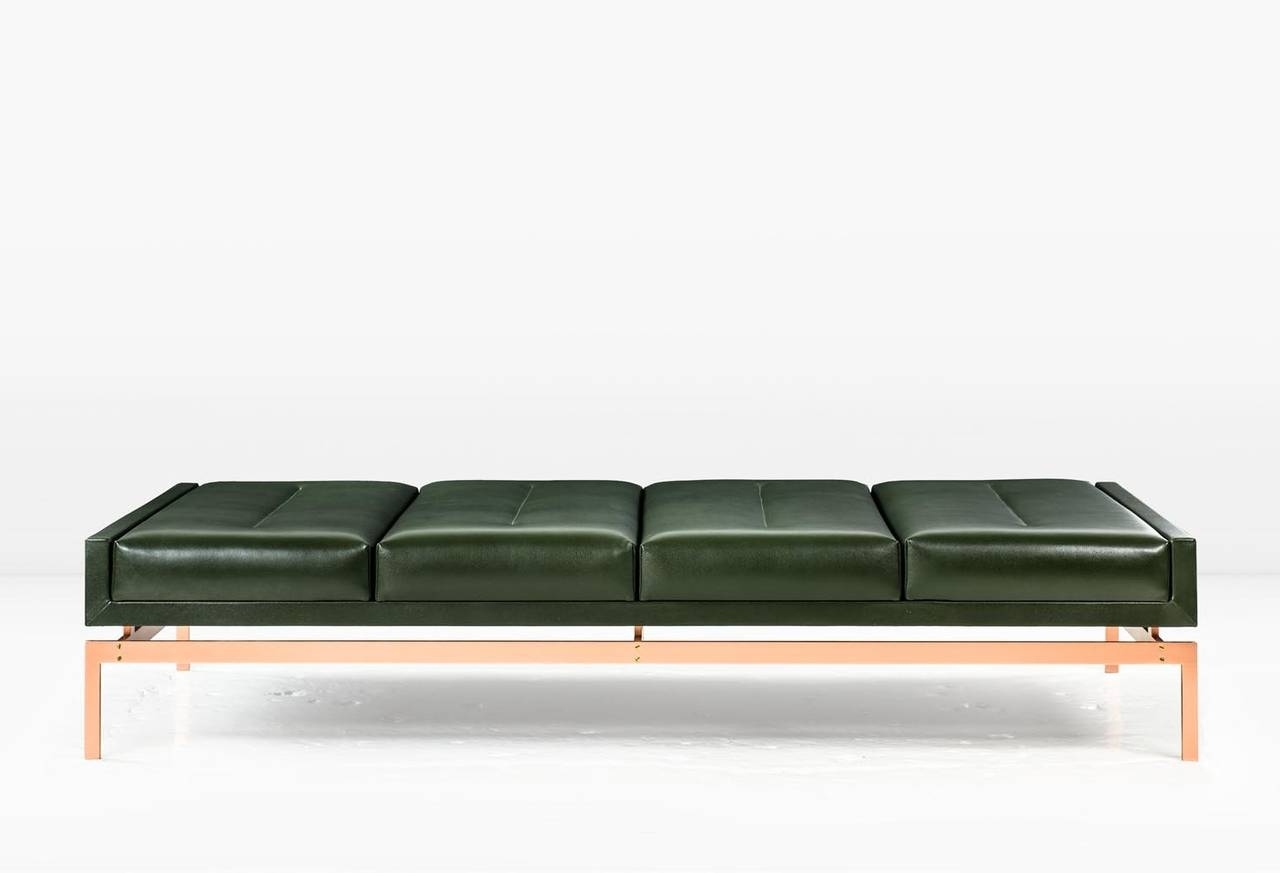 Olivera Chaise Longue / Daybed / Bench With Green Leather And Intended For Recent Chaise Lounge Daybeds (View 10 of 15)