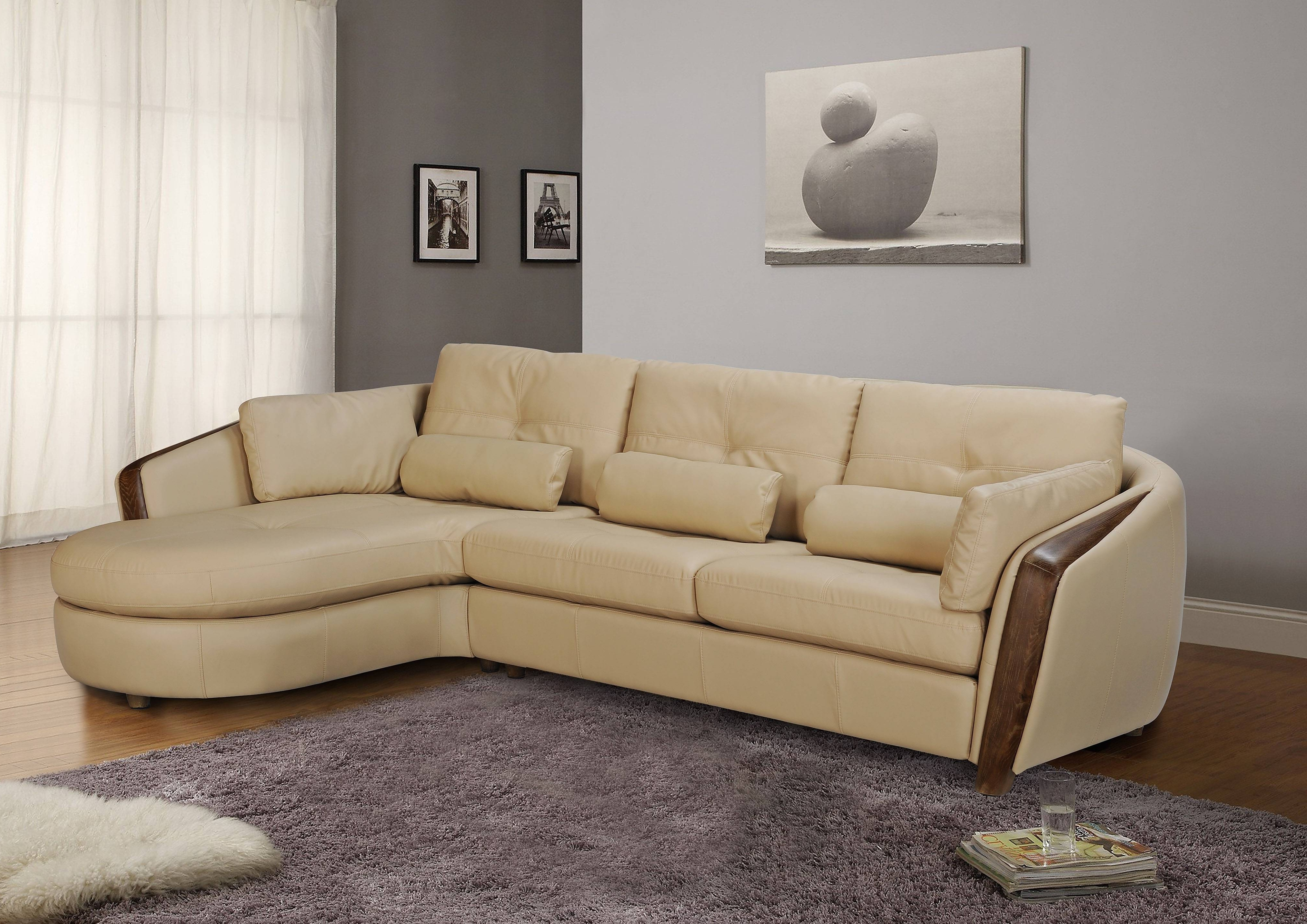 Ontario Sectional Sofas In Fashionable Taupe Bonded Leather Sectional Sofa With Ash Wood Accent Baltimore (View 8 of 15)