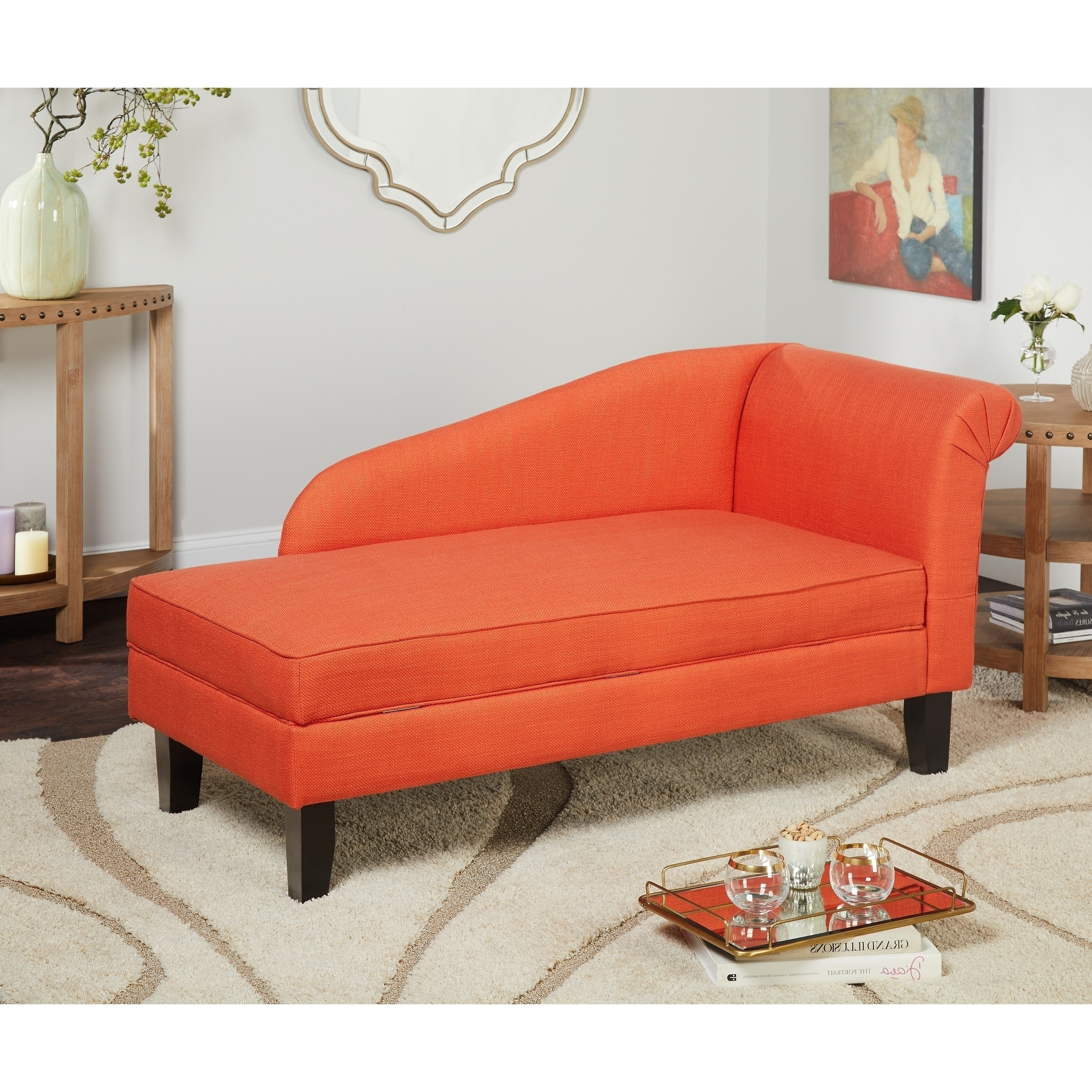 Orange Chaise Lounges Inside Newest Simple Living Chaise Lounge With Storage Compartment – Free (View 6 of 15)