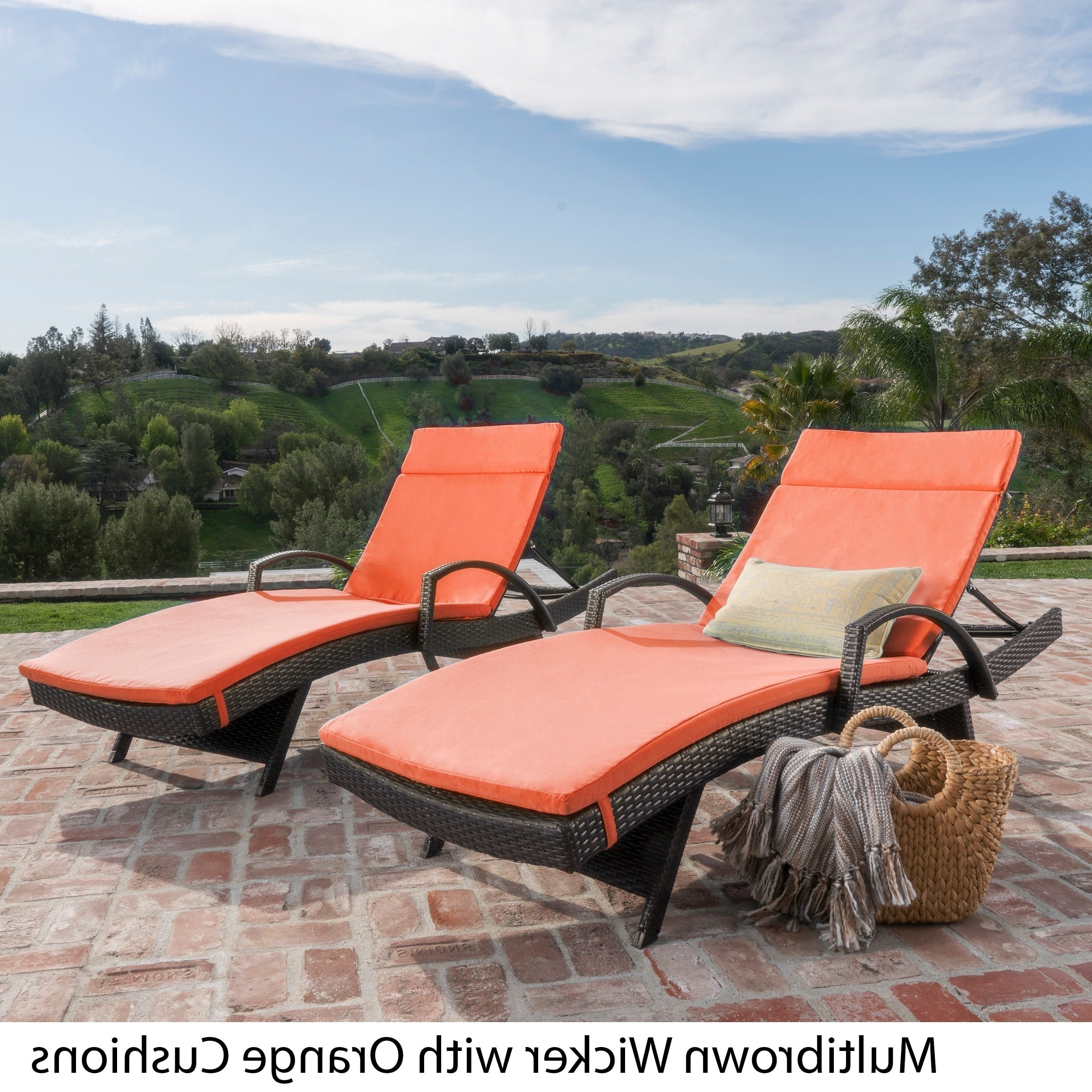 Orange Chaise Lounges Regarding Most Recently Released Toscana Outdoor Wicker Armed Chaise Lounge Chair With Cushion (View 15 of 15)