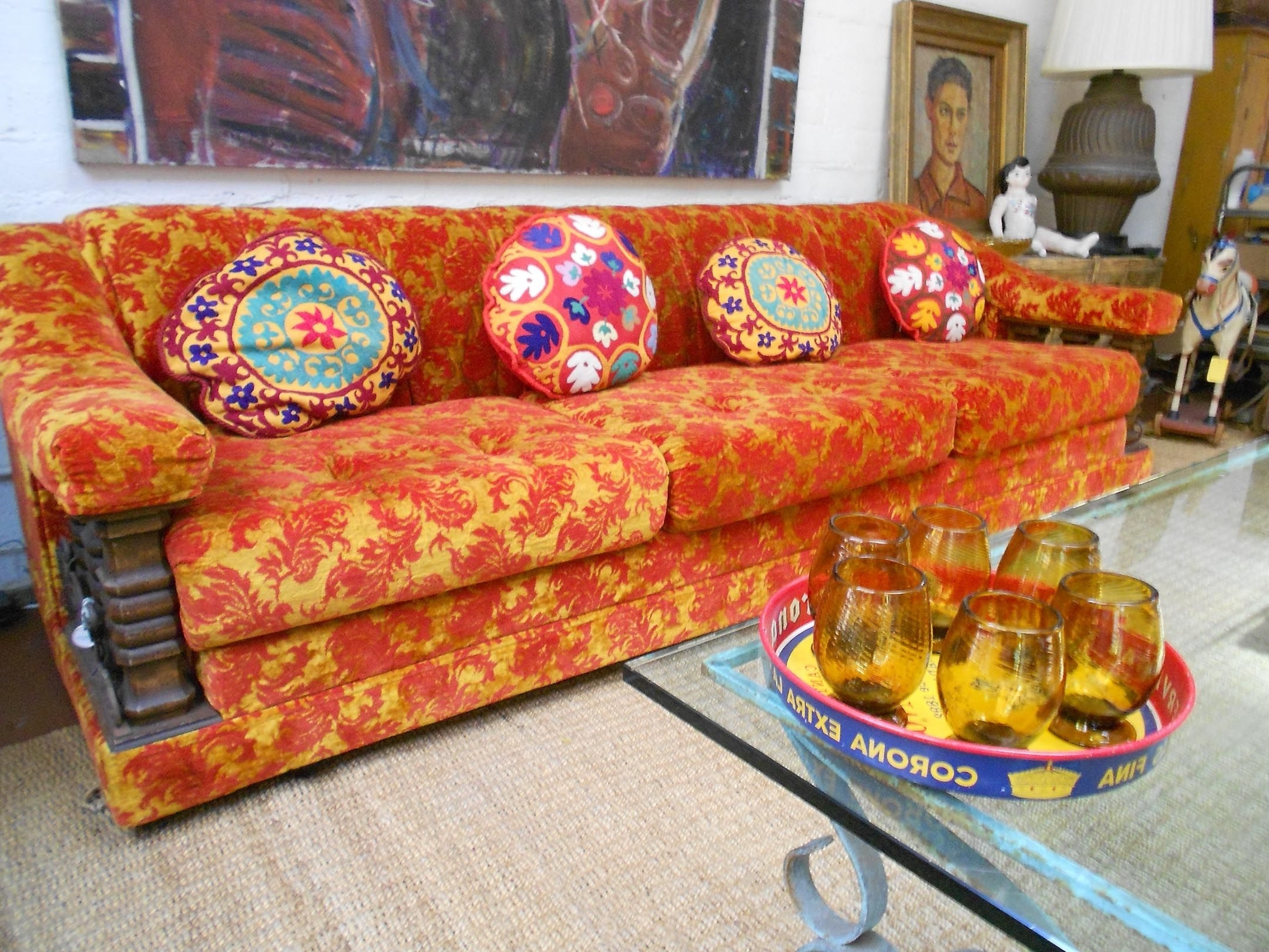 Orange #red #brocade #sofa #1960's #uzbeki #pillows #handblown Intended For Popular Sears Sectional Sofas (View 8 of 15)