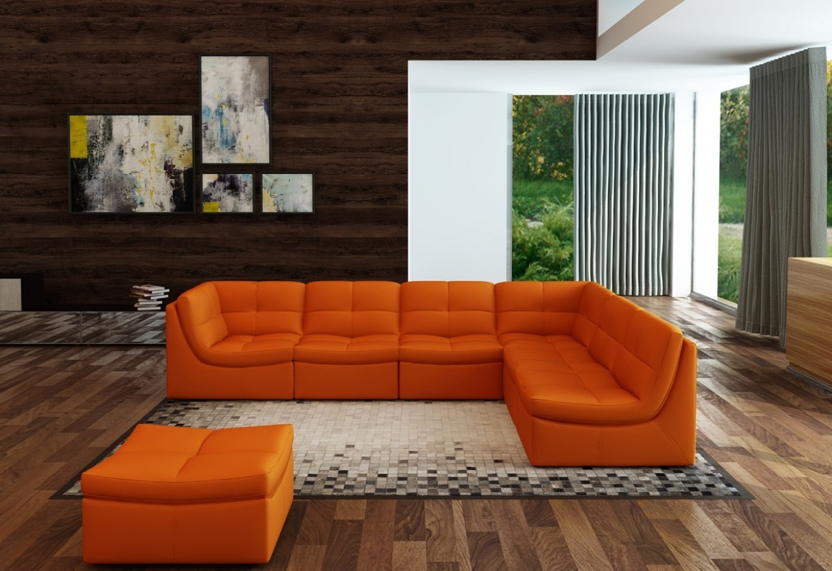 Orange Sectional Sofas Intended For Famous Divani Casa 207 Modern Orange Bonded Leather Sectional Sofa (View 7 of 15)