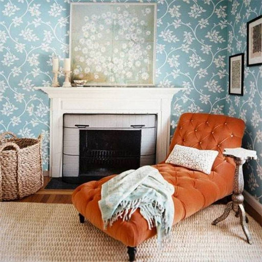 Orange Tufted Chaise Lounge Chair With Sisal Rug For Cozy Bedroom For Favorite Orange Chaise Lounges (View 7 of 15)
