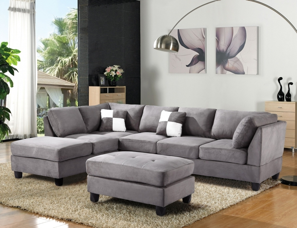 Oshawa Sectional Sofas Within Latest Furniture: Microsuede Sectional Unique Tan Microfiber Sectional (View 7 of 15)