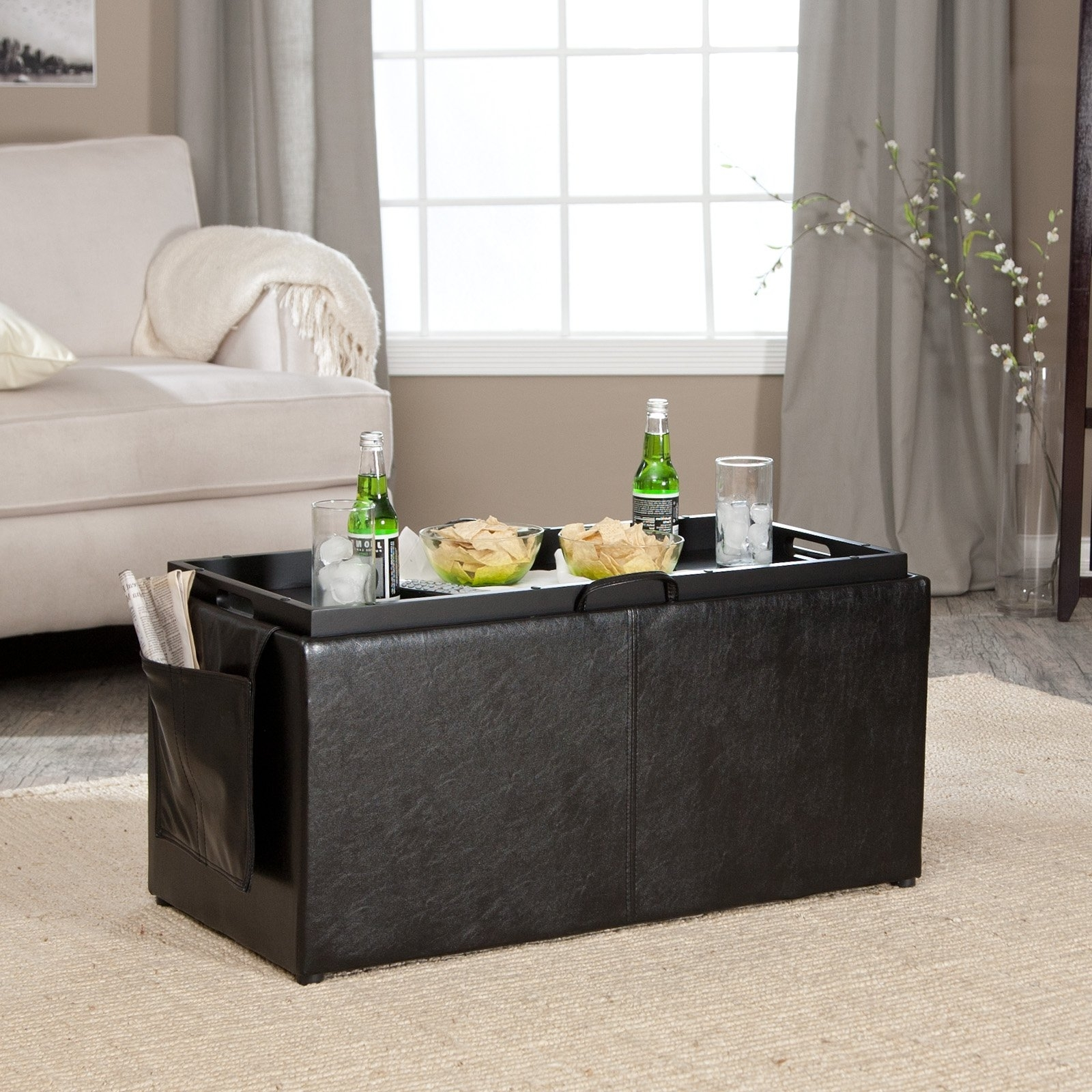 Ottomans With Tray Intended For Preferred Hartley Coffee Table Storage Ottoman With Tray – Side Ottomans (View 6 of 15)