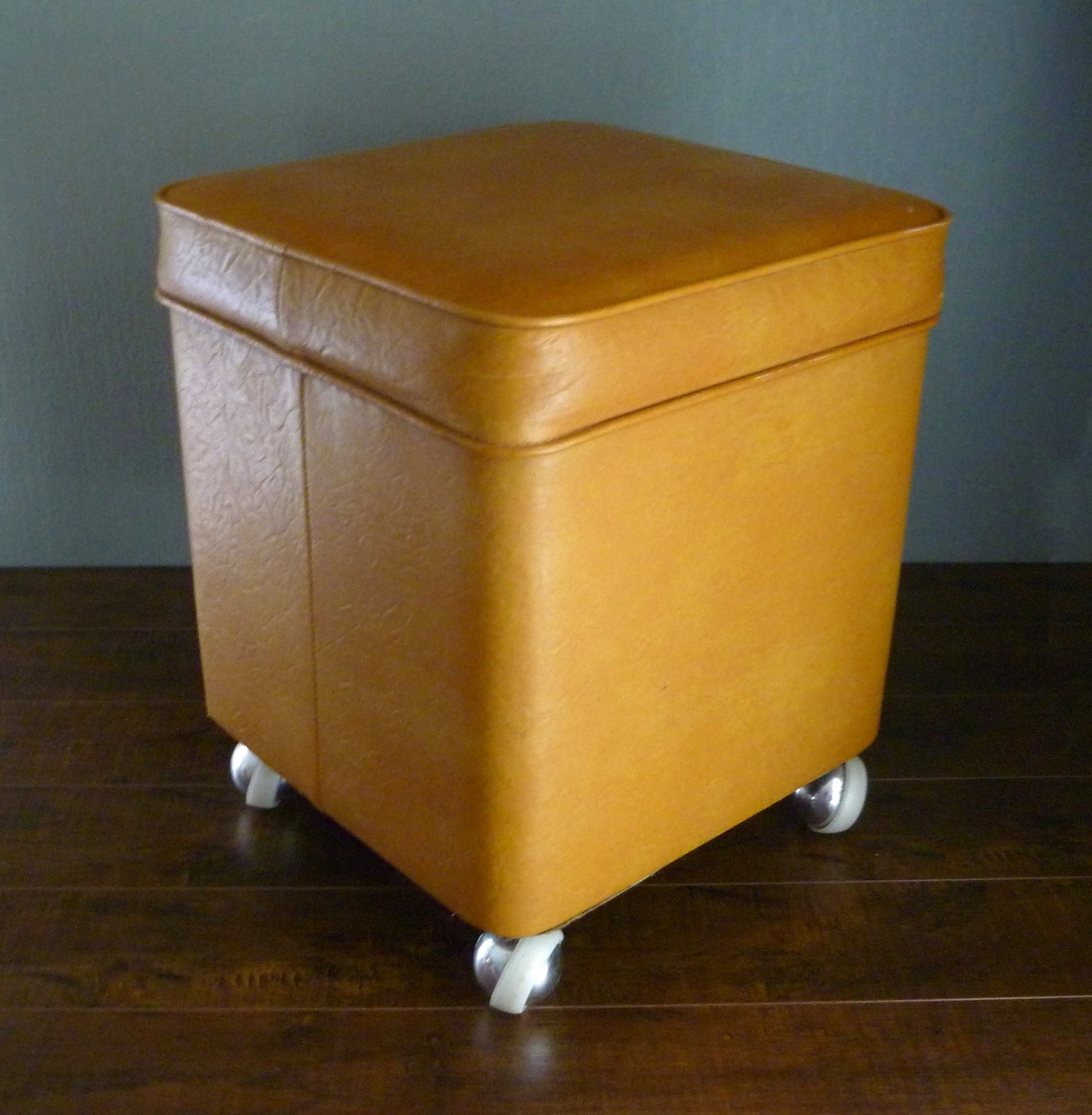 Ottomans With Wheels In Best And Newest Furniture: Leather Yellow Ottoman With Small Leather Storage (View 7 of 15)