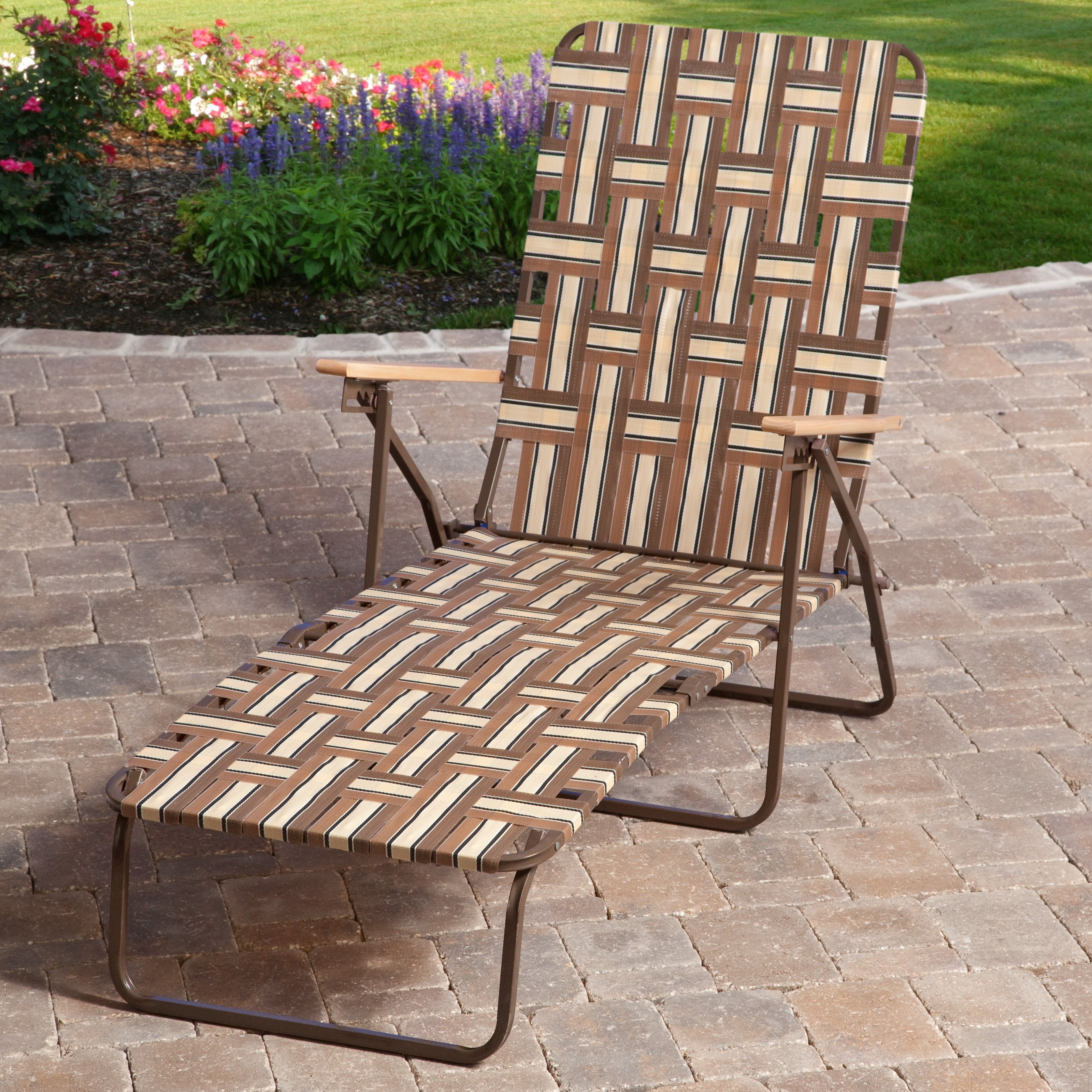 Outdoor Chaise Lounge Chairs At Walmart In Widely Used Rio Deluxe Folding Web Chaise Lounge – Walmart (View 12 of 15)