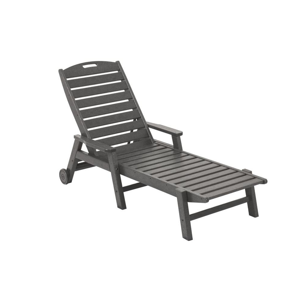 Outdoor Chaise Lounge Chairs With Arms Throughout 2018 Polywood Nautical Slate Grey Wheeled Plastic Outdoor Patio Chaise (View 5 of 15)