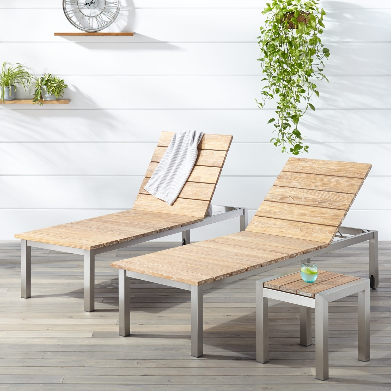 Outdoor Chaise Lounges Intended For Most Current Macon 3 Piece Teak Outdoor Chaise Lounge Chair Set – Whitewash (View 12 of 15)