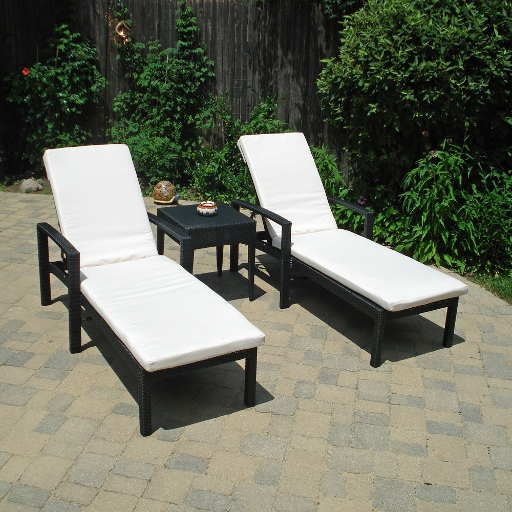 Outdoor Double Chaises Inside 2017 Caicos Chaise Lounge Set In Black Wicker With Ivory Cushions (View 11 of 15)