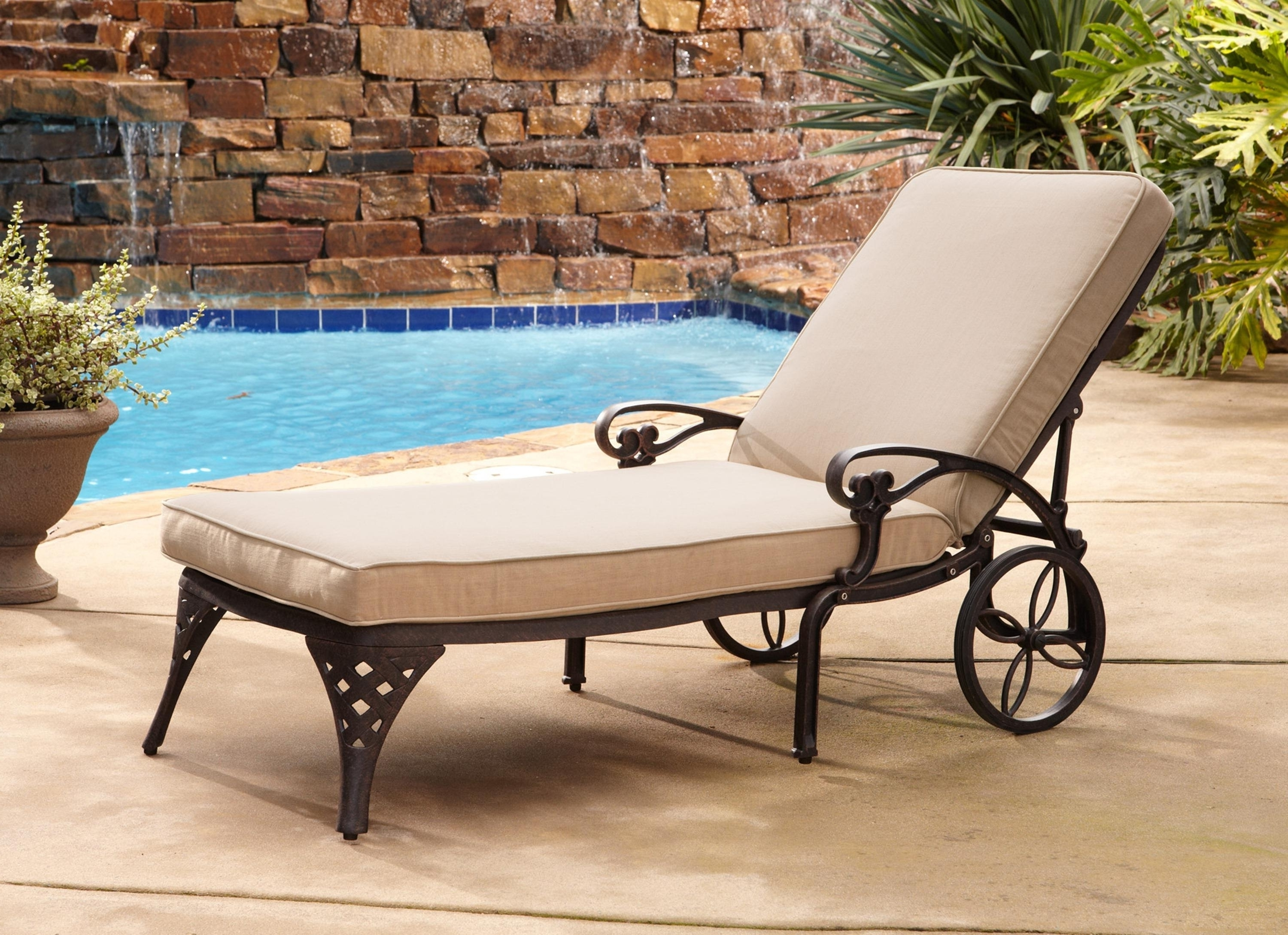 Outdoor Lounge Chairs With Cushions — Bistrodre Porch And With Most Recent Outdoor Cast Aluminum Chaise Lounge Chairs (View 11 of 15)