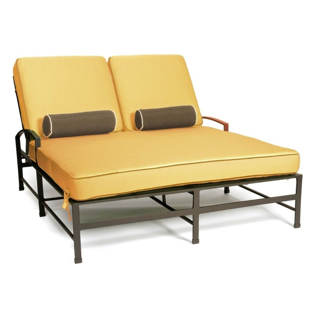 Outdoor: Outdoor Metal Double Chaise Lounge With Cushion – Luxury Regarding Trendy Double Chaise Cushions (View 10 of 15)