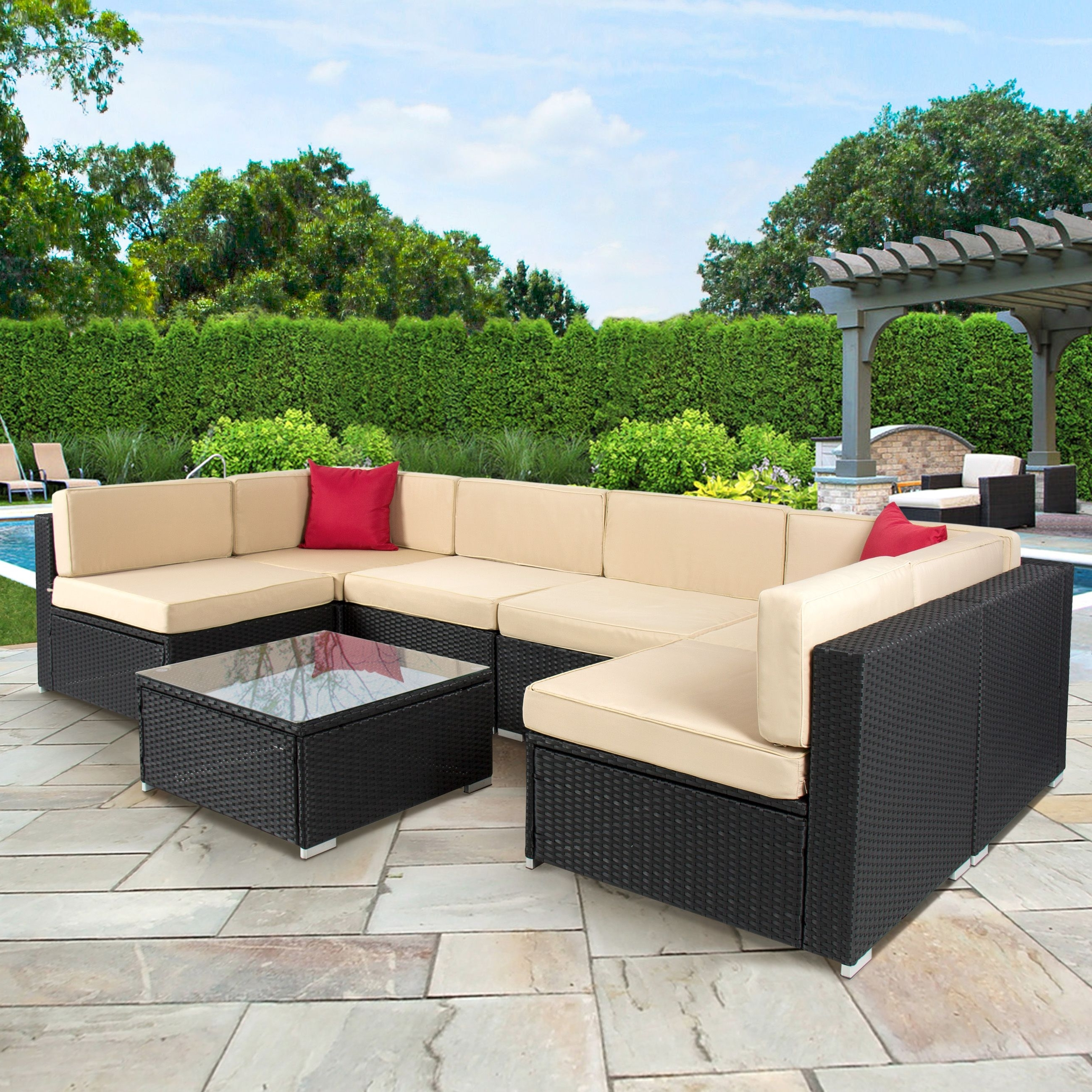 Outdoor Sofa Chairs Pertaining To Fashionable 7Pc Outdoor Patio Garden Wicker Furniture Rattan Sofa Set (View 8 of 15)