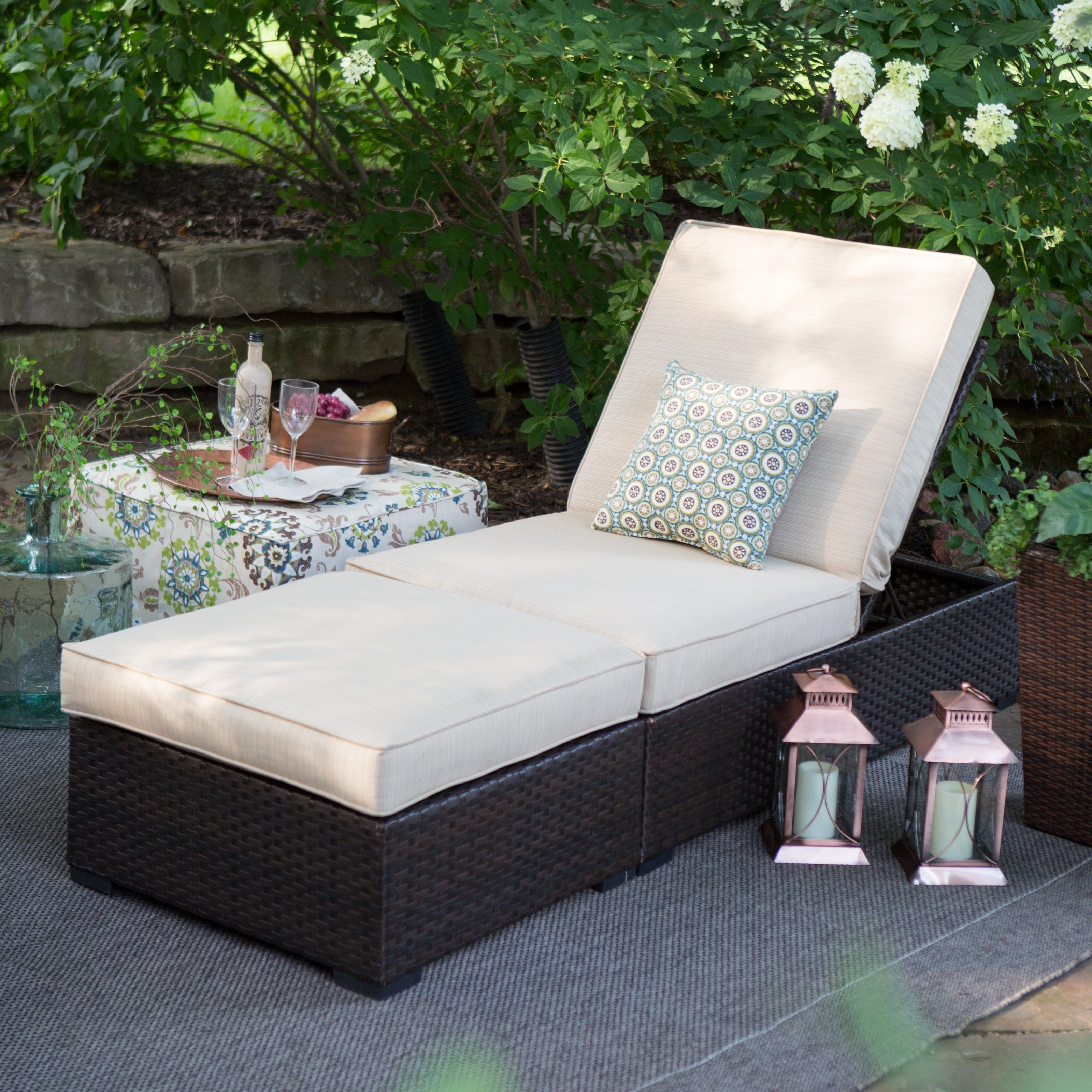 Outdoor Wicker Chaise Lounges Regarding Trendy Belham Living Marcella Wide Wicker Chaise Lounge With Ottoman (View 7 of 15)