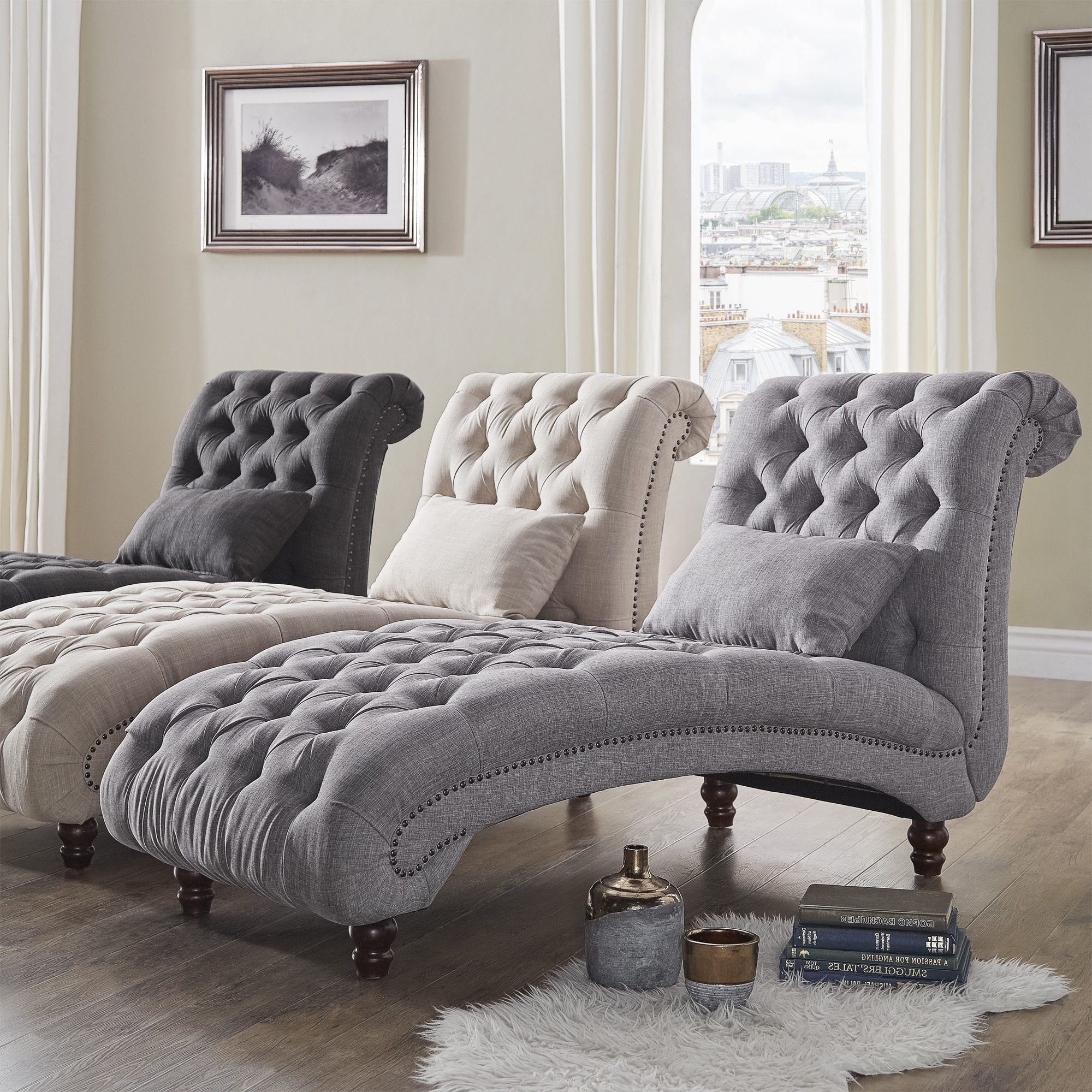 Overstock Chaises For Trendy Knightsbridge Tufted Oversized Chaise Loungeinspire Q Artisan (View 2 of 15)
