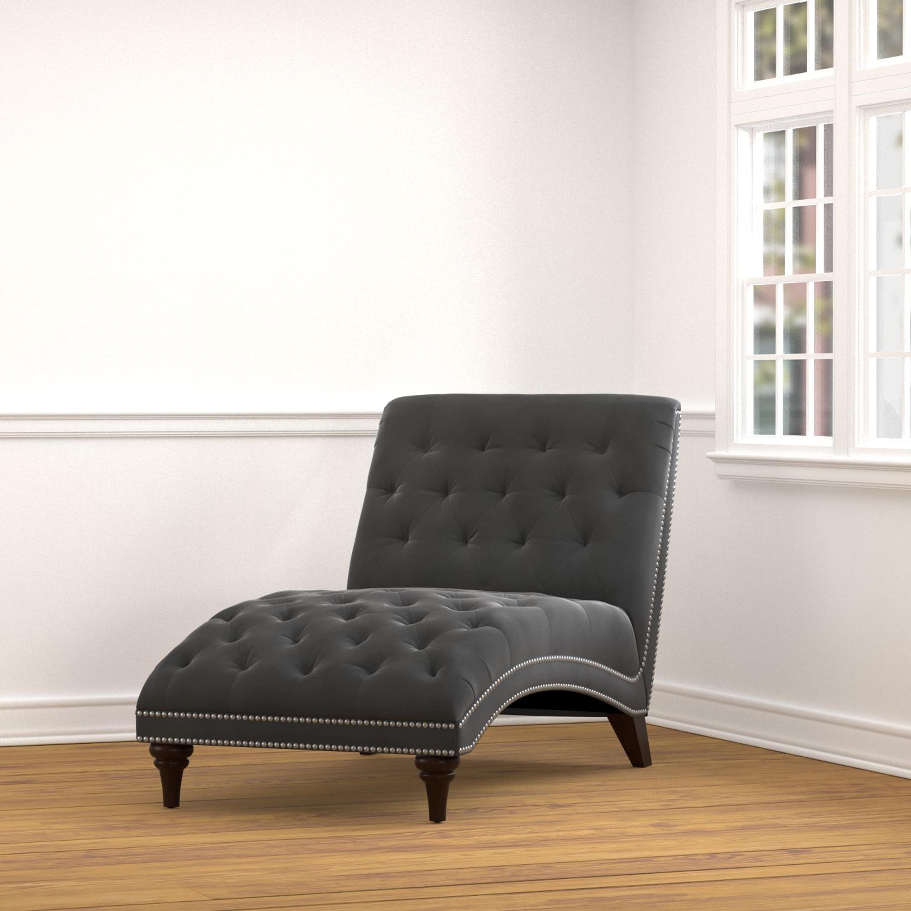 Overstock Chaises With Regard To Widely Used Handy Living Palermo Grey Velvet Snuggler Chaise – Free Shipping (View 3 of 15)