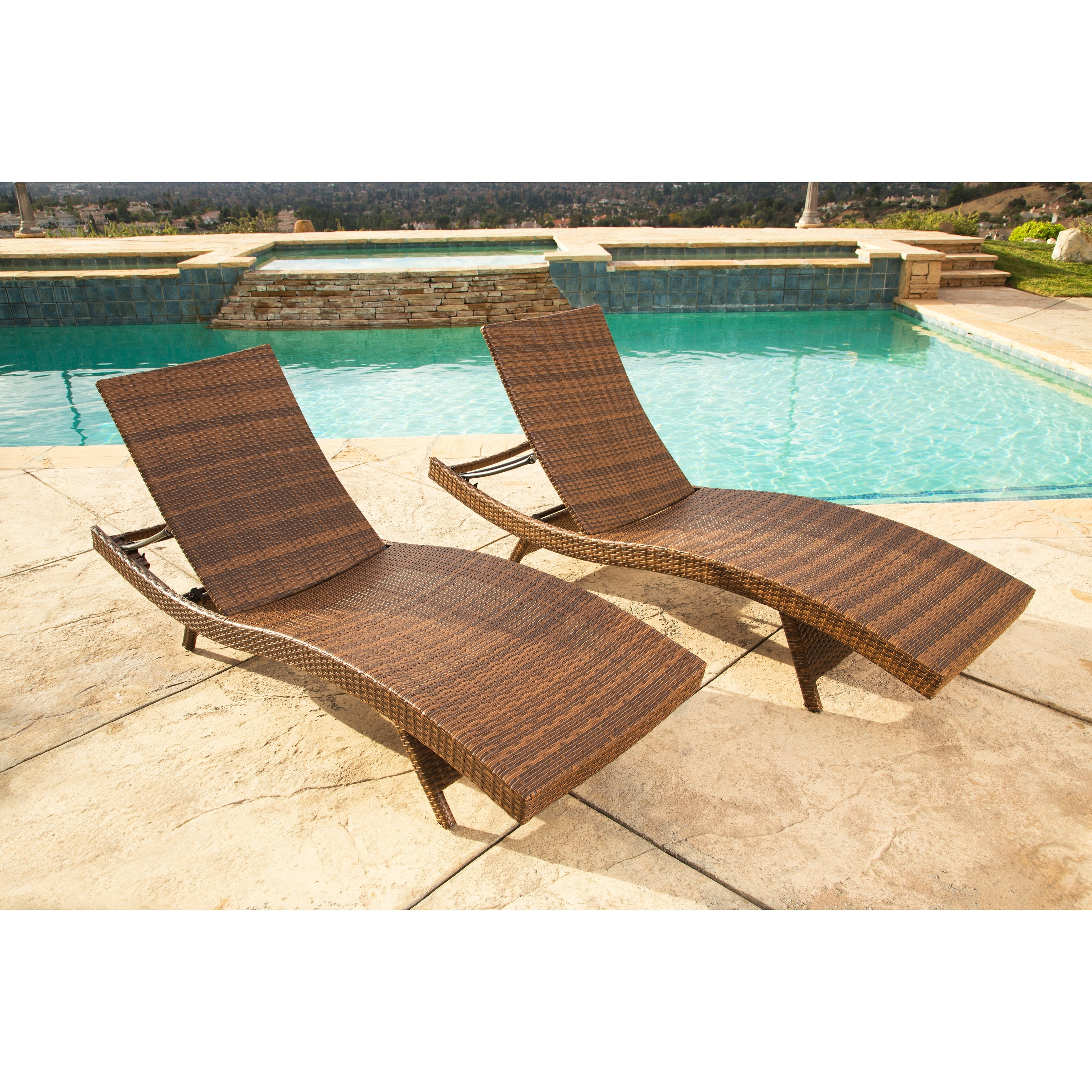 Overstock Outdoor Chaise Lounge Chairs Regarding 2018 Abbyson Palermo Outdoor Brown Wicker Chaise Lounge Set – Free (View 11 of 15)