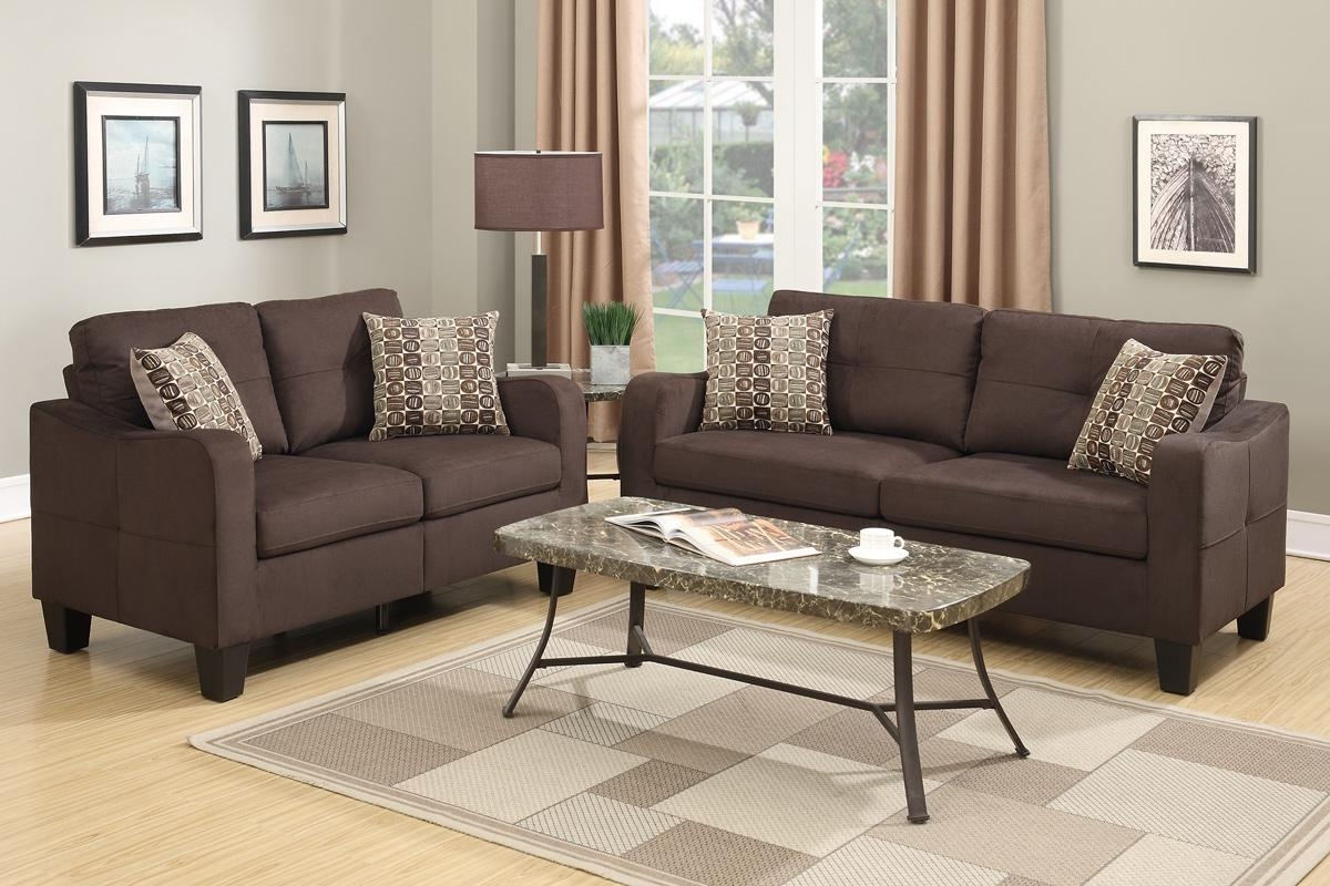 Overstuffed Sofas And Chairs With Regard To Recent Brown Fabric Sofa And Loveseat Set – Steal A Sofa Furniture Outlet (View 8 of 15)