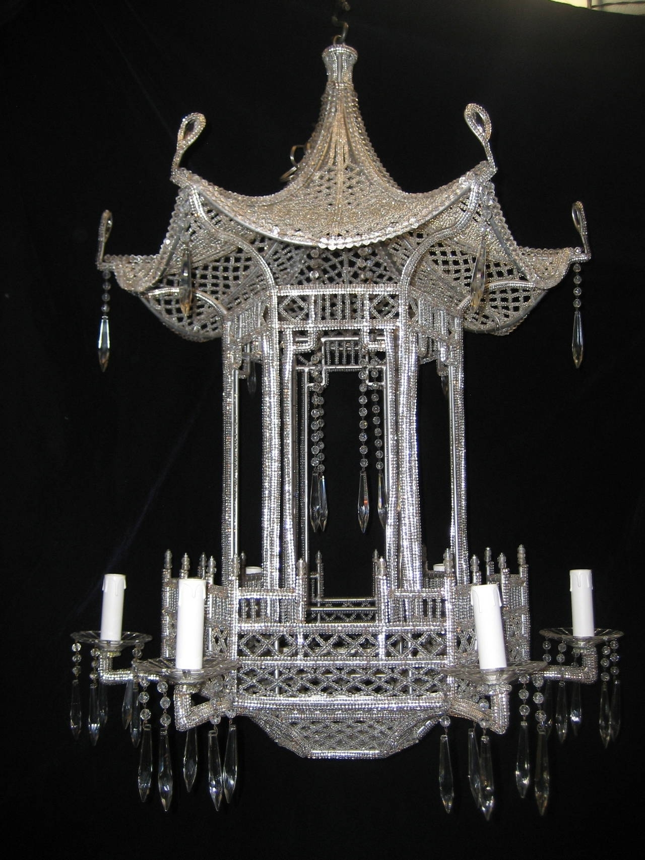 Pair Of Italian Chinoiserie Pagoda Form Beaded Glass And Crystal Pertaining To Newest Chinoiserie Chandeliers (View 12 of 15)