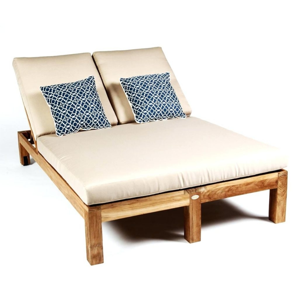 Patio Ideas ~ Caluco Teak Wood Patio Double Chaise Lounge Round With Regard To 2017 Dual Chaise Lounge Chairs (View 13 of 15)