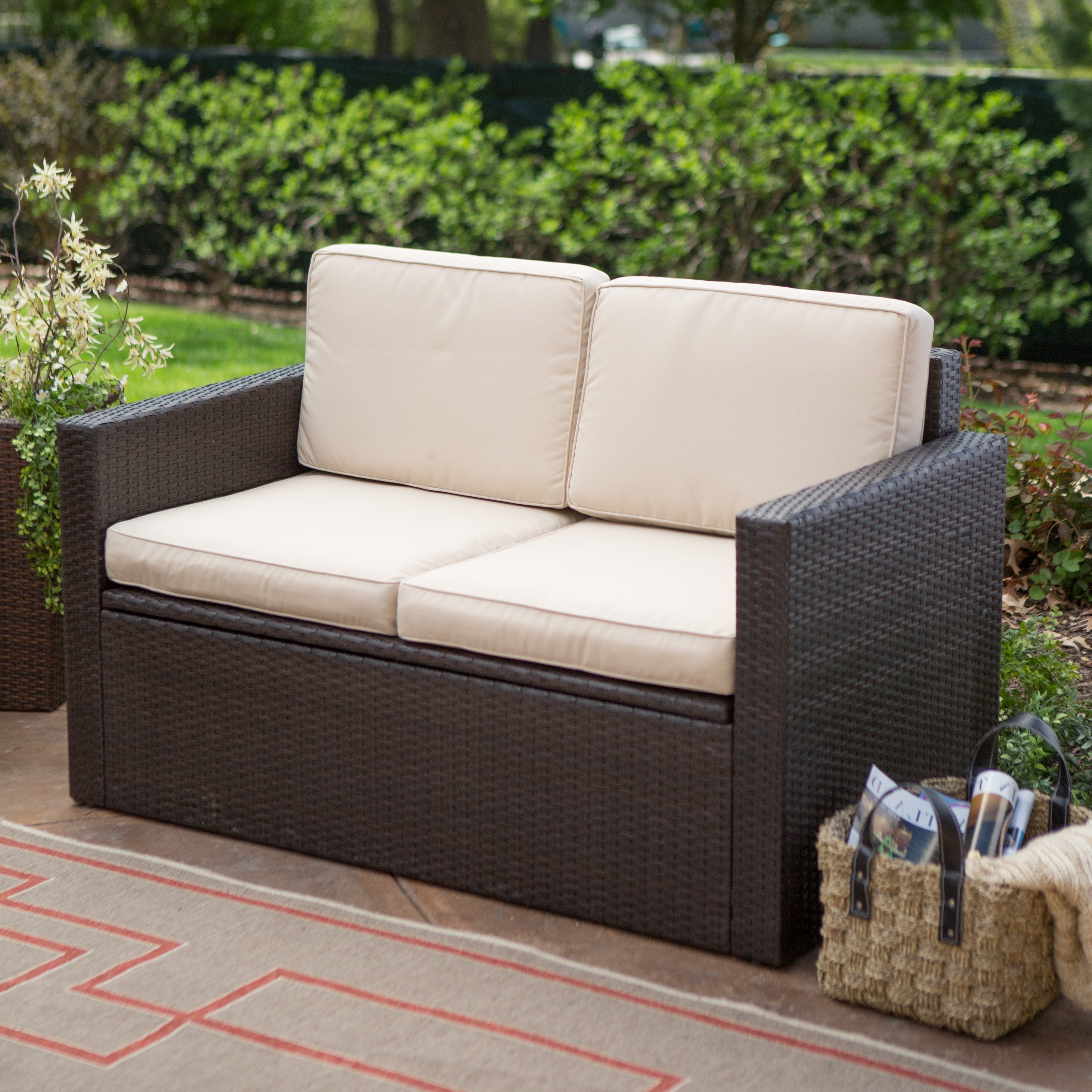 Patio Sofas Pertaining To Trendy Coral Coast Berea Outdoor Wicker Storage Loveseat With Cushions (View 12 of 15)