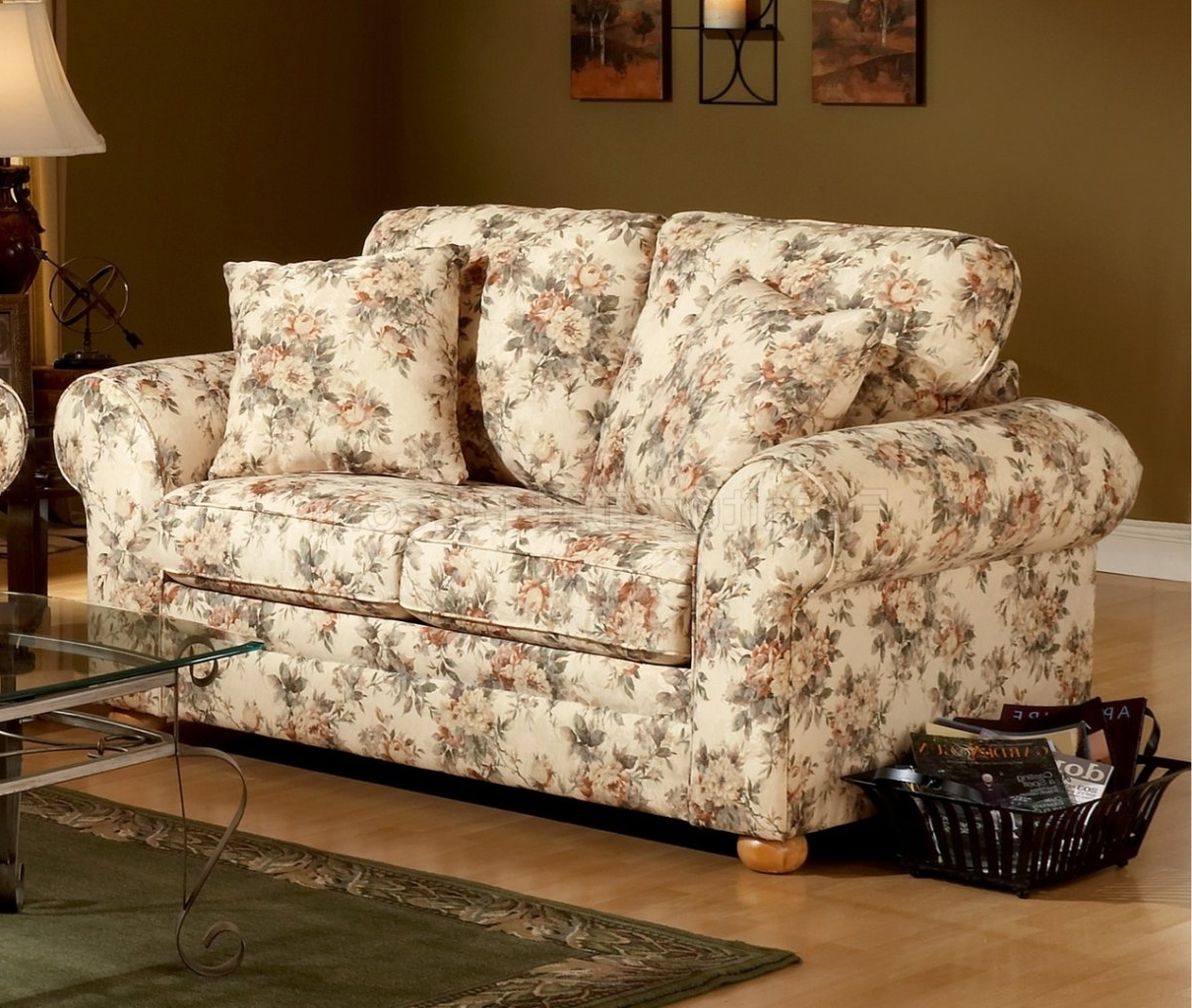 Pattern Fabric Traditional Sofa & Loveseat Set Within Most Recently Released Floral Sofas And Chairs (View 8 of 15)