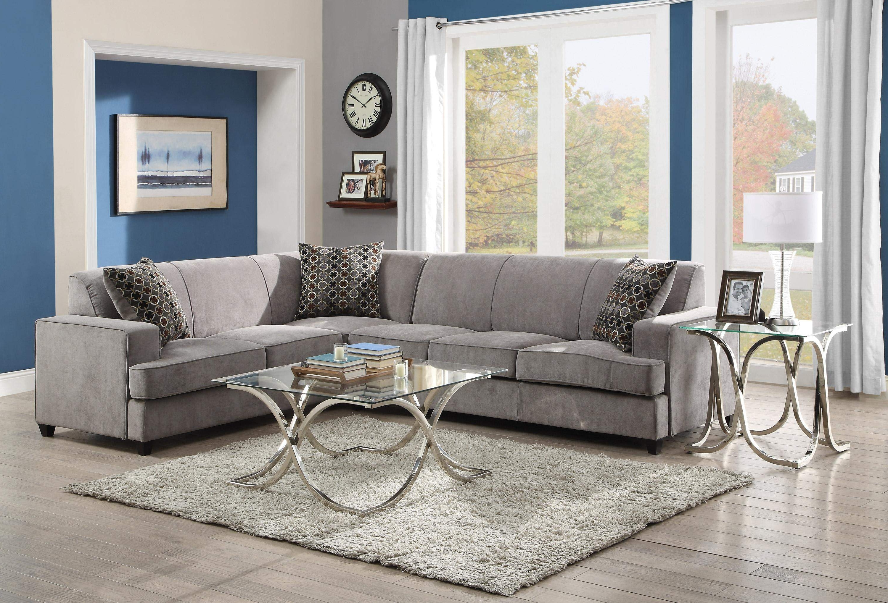 Philadelphia Sectional Sofas Inside Newest Tess Casual Grey Fabric Sectional Sofa For Corners With Queen Size (View 4 of 15)