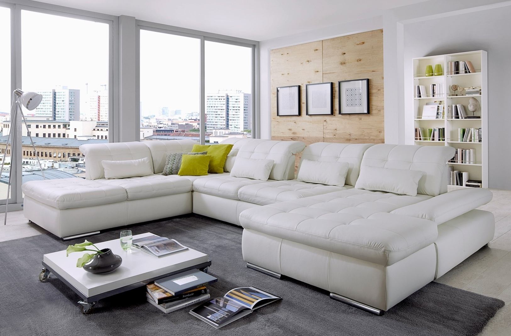 Philadelphia Sectional Sofas Pertaining To Fashionable Alpine Sectional Sofa In Punch White Leather (View 6 of 15)