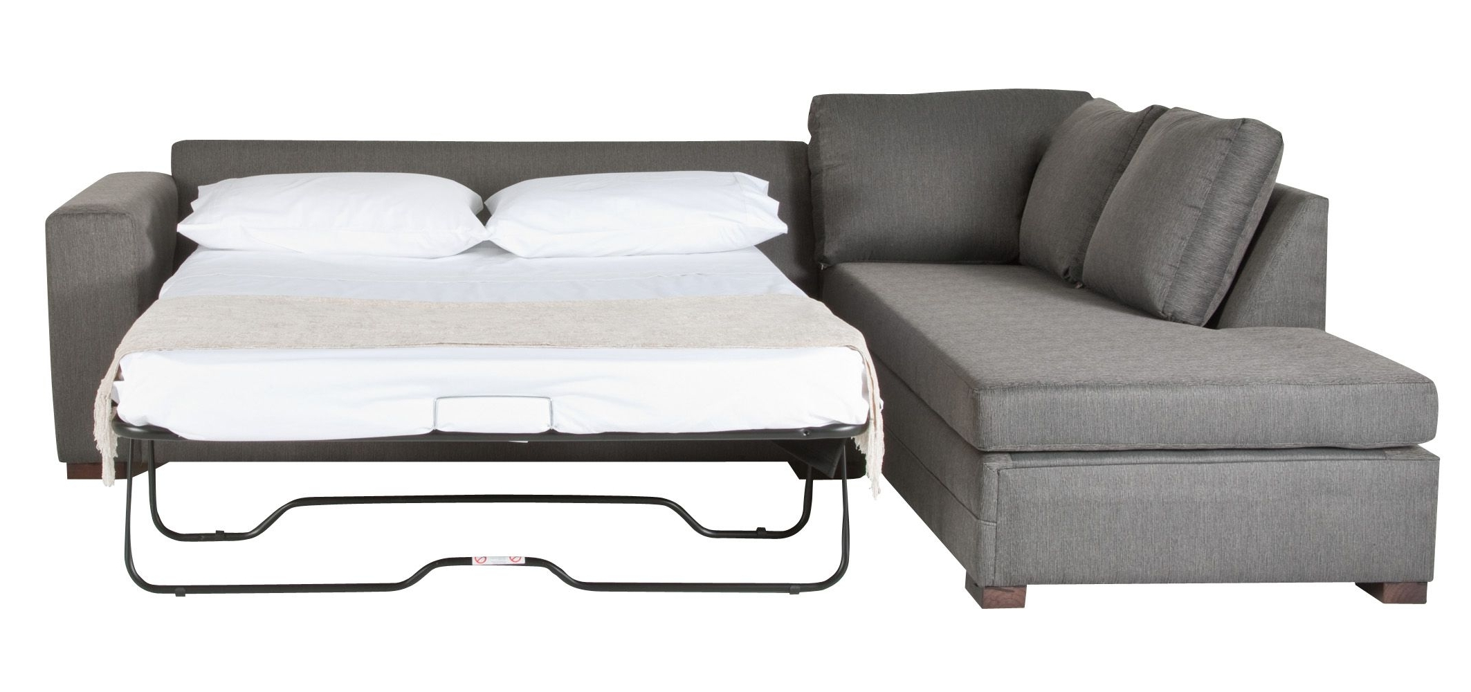 Picturesque Gray Fabric Sleeper Couch With Pull Out Bed White Regarding Most Recent Sectional Sofas With Queen Size Sleeper (View 6 of 15)