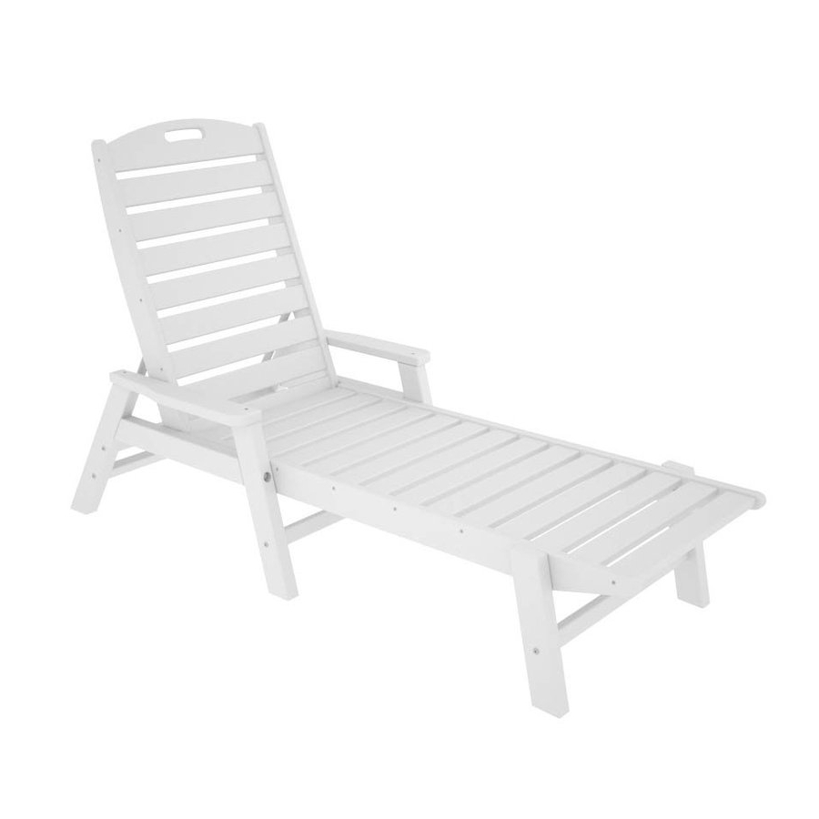 Plastic Chaise Lounge Chairs Pertaining To Newest Shop Polywood Nautical White Plastic Patio Chaise Lounge Chair At (View 6 of 15)