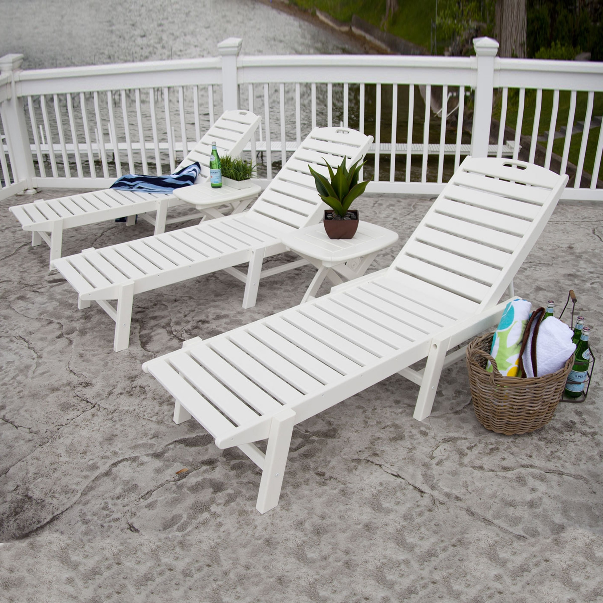 Polywood Chaise Lounges Inside Fashionable Polywood Nautical Wheeled Chaise Lounge Set (View 9 of 15)