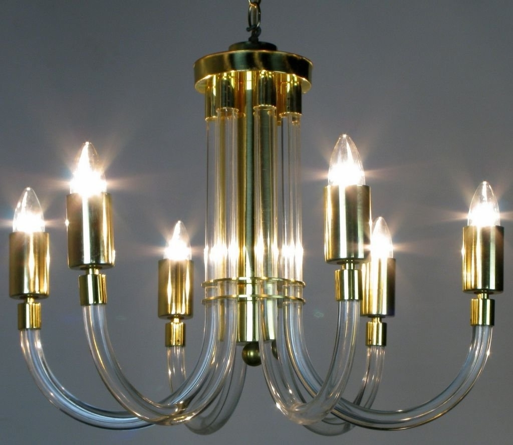 Popular Acrylic Chandeliers Intended For Peter Hamburger Brass And Acrylic Six Arm Chandelier For Sale At 1Stdibs (View 12 of 15)