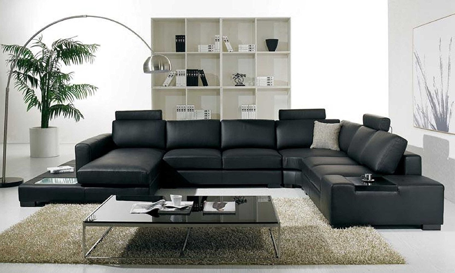 Popular Amazon: T35 Modern Black Sectional Sofa With 3 Headrests With Regard To Black Sectional Sofas (View 11 of 15)