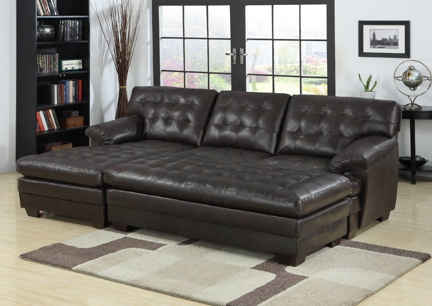 Popular Armchair : Leather Sectional Sleeper Sofa With Chaise Sectional With Leather Sofas With Chaise Lounge (View 5 of 15)