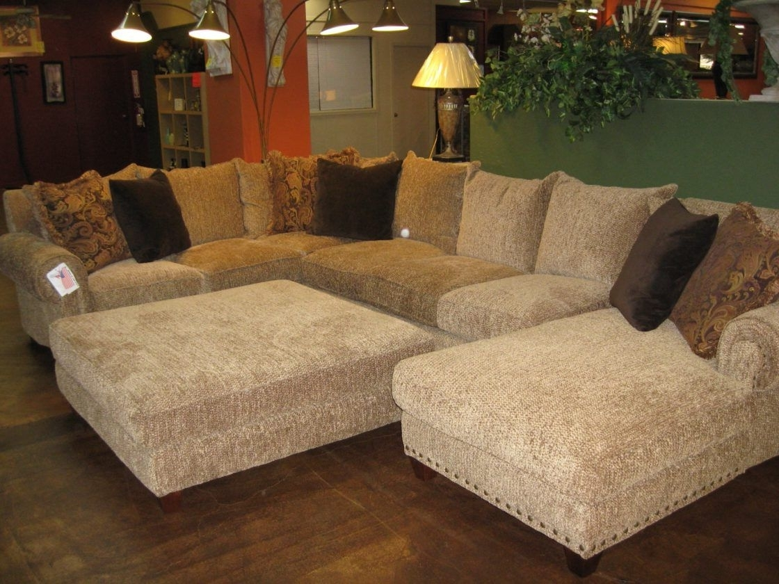 Popular Beautiful Chic Beige Microfiber U Shaped Sectional Couch Living With Regard To Sectional Sofas With Chaise Lounge And Ottoman (View 6 of 15)