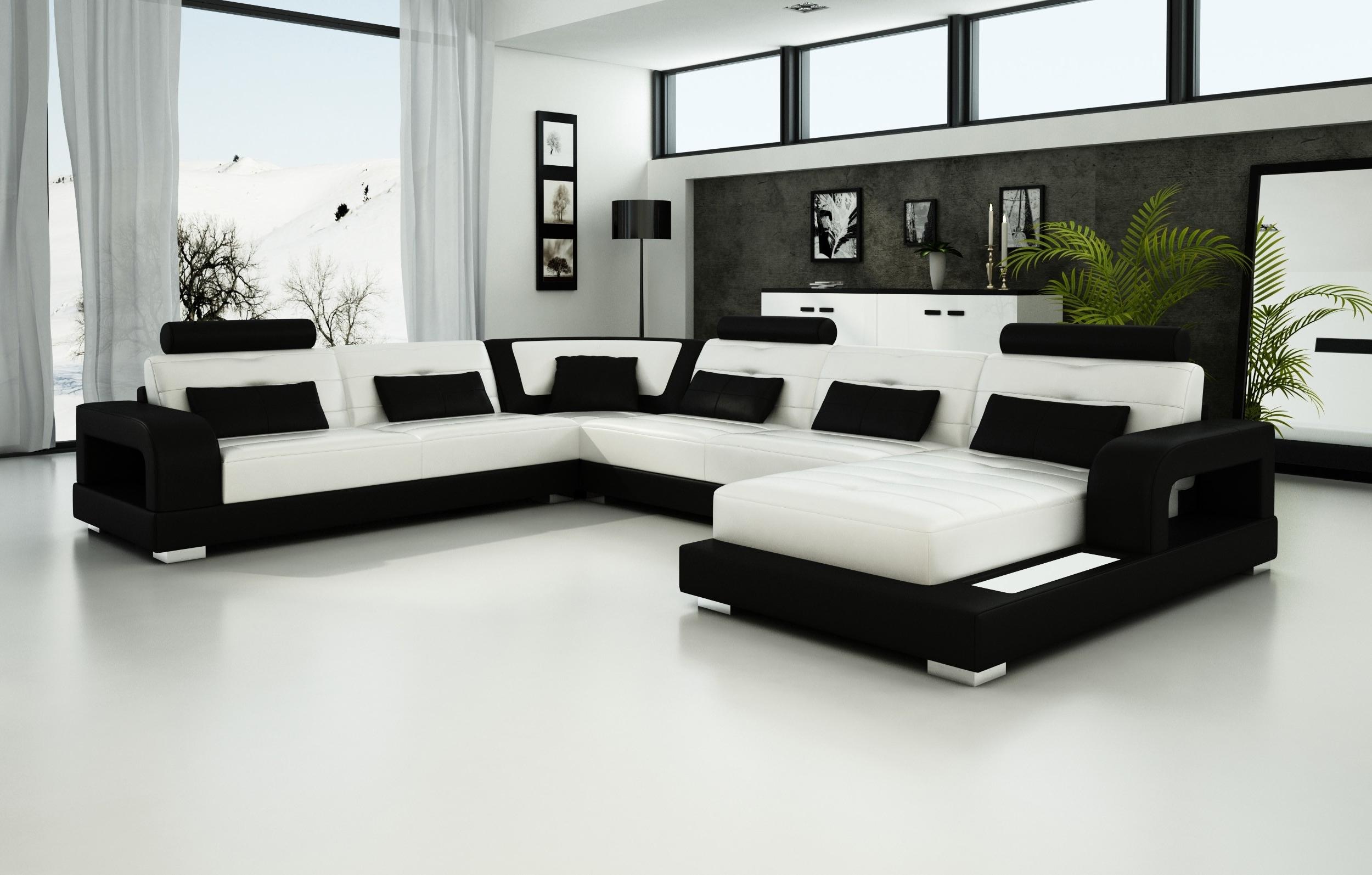 Popular Black And White Sofas Pertaining To Olympian Sofas Pesaro White Black Leather Sofa – Sectional Sofas (View 2 of 15)
