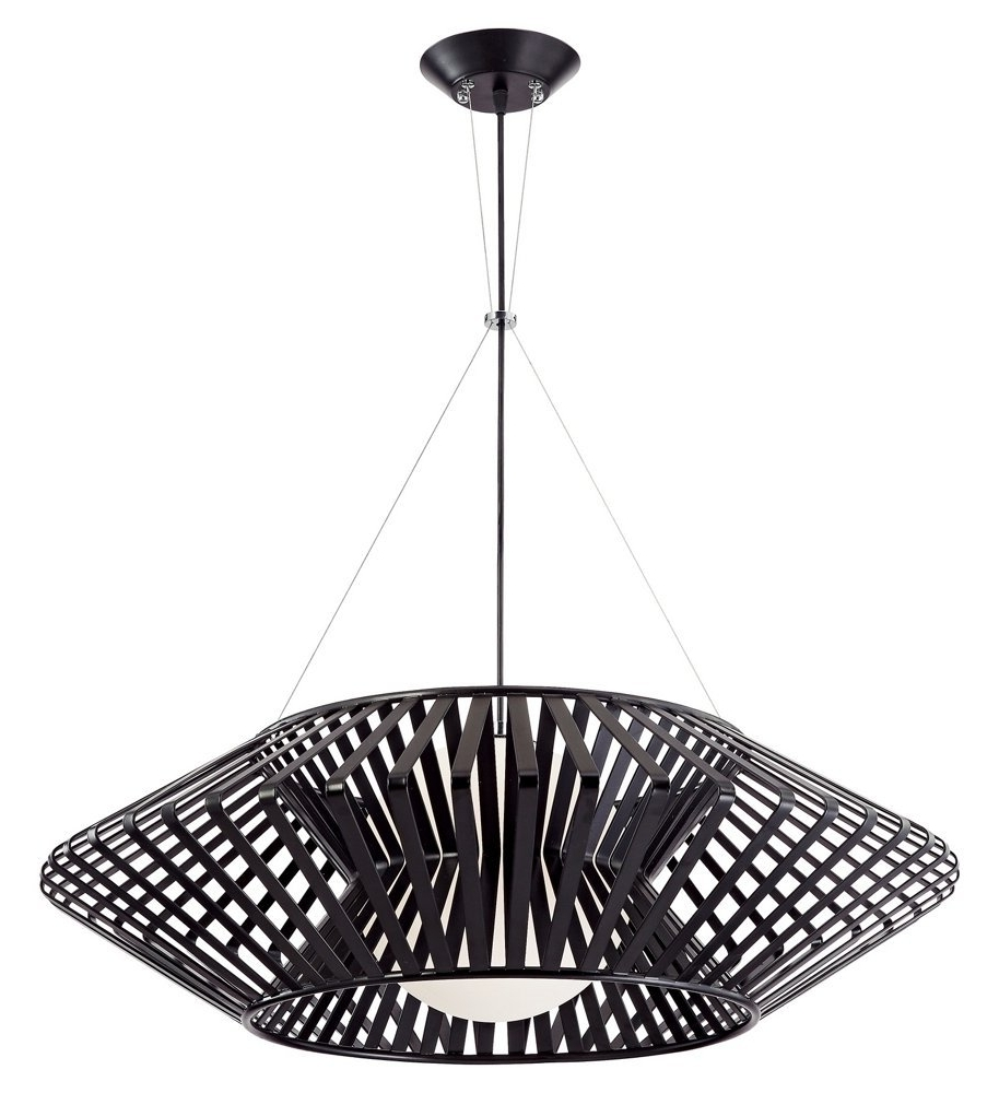 Popular Black Contemporary Chandelier For Possini Euro Planet Chrome And Black Pendant Chandelier – Lamps Plus (View 6 of 15)