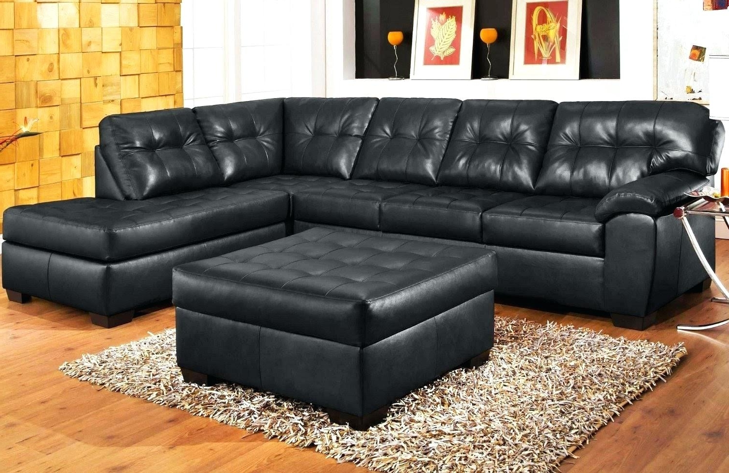 Popular Black Sectional Couch Sofa With Chaise For Cheap Leather Recliner Pertaining To Black Sectional Sofas (View 12 of 15)